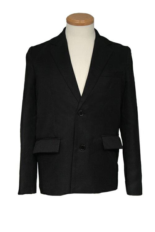 ジャケット【テーラードジャケット】黒 ブラック【S〜LL】コスプレ 衣装 ブレザー 無地 スーツ アパレル(4000-1-bk)