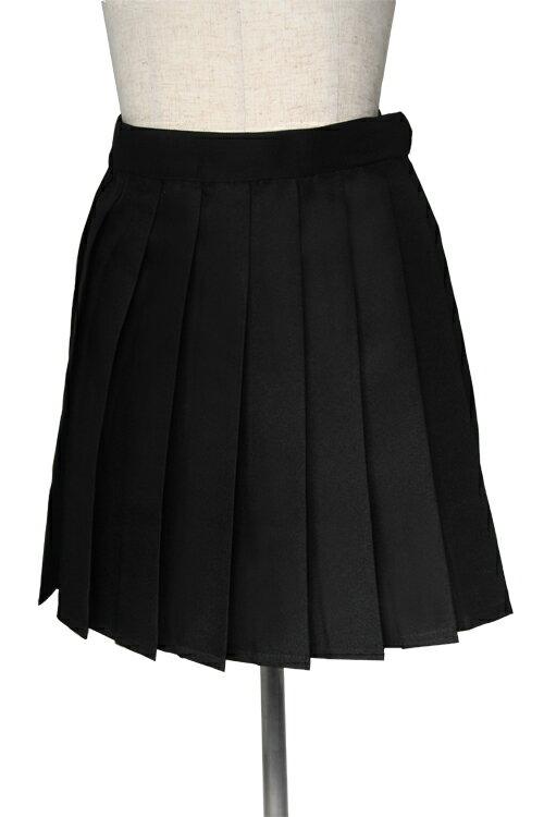 コスプレ スカート【プリーツスカート】黒 ブラック【S〜LL】女子高生 制服 衣装 スクール /アパレル(4000-4-bk)