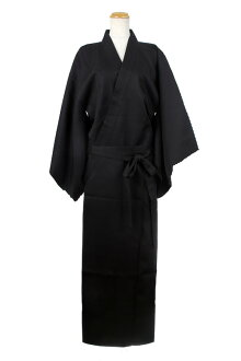 Kimono costume play plain fabric kimono kimono Japanese-style disguise costume Lady's wearing men's clothes frequent use adjustable size black black (with the obi) apparel in Japanese dress