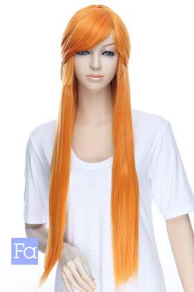 【バレンシアオレンジ】ロングストレート改【高温耐熱!!高品質コスプレ★フルウィッグ/wig】