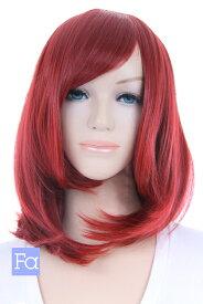 ウィッグ ミディアム 【レンガレッド】【ウィッグネット付】 赤 レッド 赤髪 ミディアムウィッグ 安い コスプレウィッグ 耐熱 (mi-t1449)