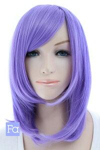 ミディアム 紫【パープルアッシュ】【ウィッグネット付】 紫 パープル ミディアムウィッグ 激安 コスプレウィッグ 耐熱(053 mi-t2402)