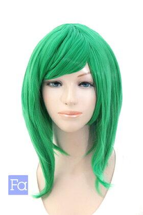 【エメラルドグリーン】サイドロング【高温耐熱!!高品質コスプレ★フルウィッグ/wig】
