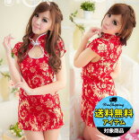 赤×金・ゴージャスな半袖チャイナドレス