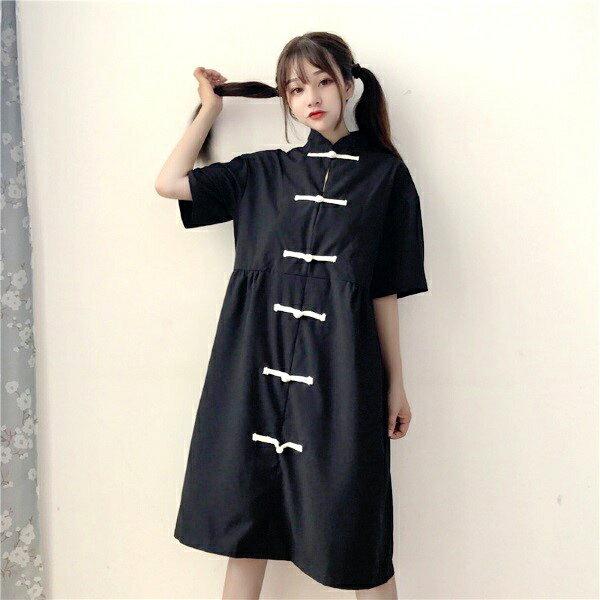 チャイナ風 ブラック ワンピース 五分袖 フリーサイズ ゆったり 大きめ ファッション アパレル 海外 韓国 インポート セレクト スタイル デザイン