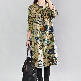 今だけ送料無料 レディース 和柄 七分袖 ゆったり 古風 ワンピース ファッション アパレル 海外 韓国ファッション インポート セレクト スタイル デザイン