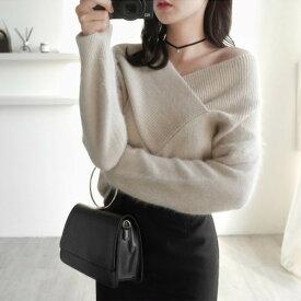 秋 冬 フロント クロスデザイン ふるゆわ ニット セーター ファッション アパレル 海外 韓国ファッション レディース インポート セレクト スタイル デザイン