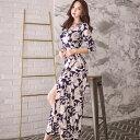 今だけ送料無料 涼しげな花柄シフォンガウン セクシー ナイトドレス パーティー 可愛い コンパニオン キャバ ギャル 韓国ファッション レディース ハロウィン イベント 大人 ドレス 衣装
