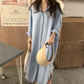 ヴィンテージ加工の大きめロングワンピースシャツ M ファッション アパレル 海外 韓国ファッション レディース インポート セレクト スタイル デザイン