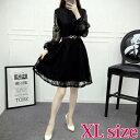 ブラックレースAラインワンピースドレス XLサイズ ブラック ワンピース ドレス トップス 韓国ファッション 中国ファッション 海外 インポート カジュアル きれいめ アパレル 可愛い ギャル セレクト スタイル デザイン