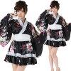 Mini kimono dress, ruffled black M ■ cosplay costume costumes cosplay costumes costume kimono mini kimono yukata mini yukata yukata mini oiran juban kimono courtesan