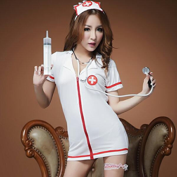 ナース 白衣 制服 看護師 医者 女医 ドクター ミニ ロング セクシー キャットガーター付き・フロントジップのナーストップス