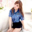 肩ロープ付き タイトスカートがセクシーなミニスカ婦人警官 コスプレ 可愛い ポリス アーミー 婦人警官 軍服 警察 迷…