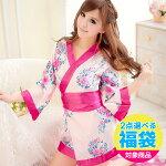 着物ドレス/ミニ浴衣/大きめリボン×ピンクの花柄のセクシーミニ着物