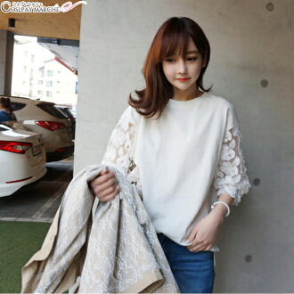 maru-mr0127 for sexy adult having a cute length sleeve race white T-shirt M apparel Korea fashion Lady's foreign countries import select-style design for fashion <★ coupon usable immediately> seven minutes