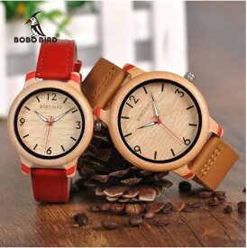 竹製 本革 腕時計 男性 女性 レザー クォーツ ボボバード メンズ レディース レザー ペア ウォッチ BOBO BIRD Watch