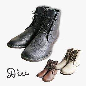 Diu ショートブーツ 317D4601 レースアップ レザー 本革 革 サイドジップ ナチュラル シンプル 幅広 歩きやすい ソックス 柔らかい ブーツ
