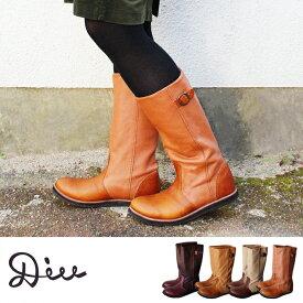 Diu ディウ オイルレザー ハンドステッチ ブーツ レディース 本革 革 牛革 オブリーク 疲れない ペタンコ シンプル ローヒール 軽い ヒール 歩きやすい 幅広