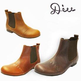Diu ディウ サイドゴア ショートブーツ 315D4592 レディース 本革 ブーツ 牛革 オブリーク 疲れない 革靴 ナチュラル シンプル コンフォート ぺたんこ 外反母趾 ローヒール 痛くない 軽い 歩きやすい ソックス 幅広 母の日 ギフト 送料無料