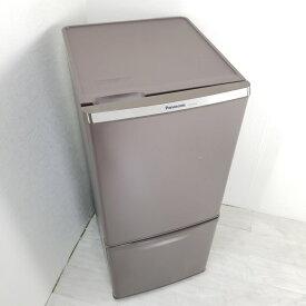 【中古】 138L 2ドア冷蔵庫 パナソニック NR-B149W-T 2017年製 ブラウン 右開き 自動霜取ファン式 一人暮らし 単身用 送料無料 3ヶ月保証付