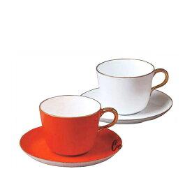 大倉陶園 紅 白 モーニングカップ&ソーサーペアセット (26CR-1700) (大倉陶園OKURA洋食器白磁)(日本製)(送料無料)(ギフト)