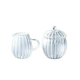 【送料無料】ミルク&シュガーセット ミルク120ml・シュガー200ml 耐熱ガラス ティーフォーツー ウェーブ 吉谷硝子(YF-1020W)ギフト
