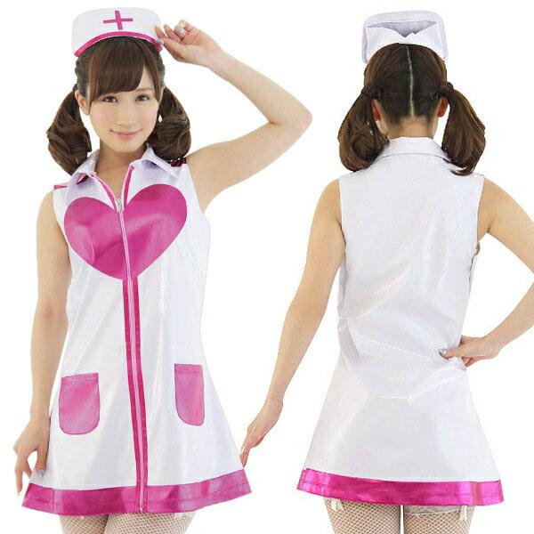 ドキドキ☆ポップナース コスプレ ナース 看護師 看護婦 白衣 医者 女医 制服 セクシー 大人 コスチューム キャバ ギャル 衣装 可愛い ハロウィン イベント 仮装