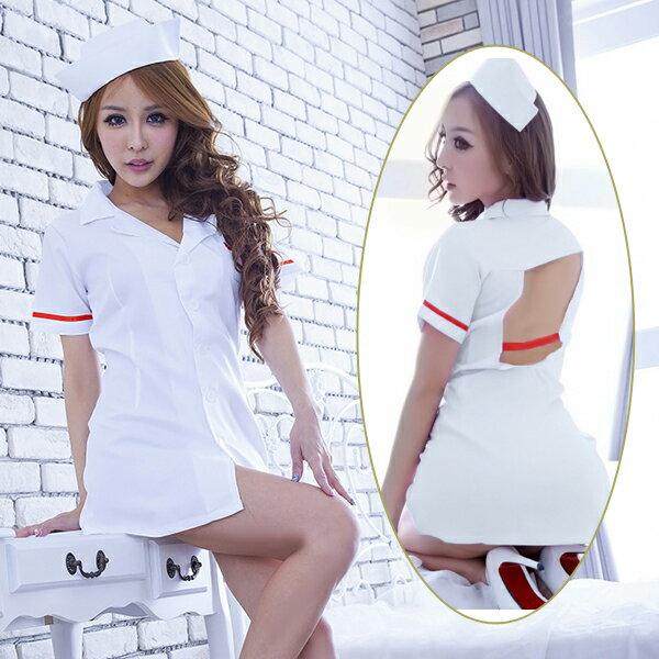 赤いラインのバックオープンホワイトナース コスプレ ナース 看護師 看護婦 白衣 医者 女医 制服 セクシー 大人 コスチューム キャバ ギャル 衣装 可愛い ハロウィン イベント 仮装