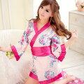 大きめリボン×ピンクの花柄のセクシーミニ着物セクシー着物浴衣ミニゆかたマイクロアニマルおいらん花魁kimono京都