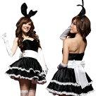 黒×白・ふんわりボリュームスカートのバニーワンピースセクシー仮装バニーバニーガールセクシーバニーエナメルバニー