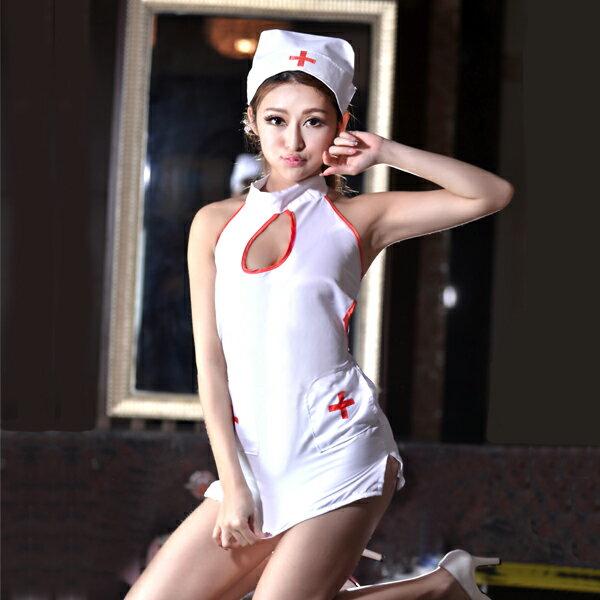 胸元オープン・バックリボンのセクシーナース コスプレ ナース 看護師 看護婦 白衣 医者 女医 制服 セクシー 大人 コスチューム キャバ ギャル 衣装 可愛い ハロウィン イベント 仮装