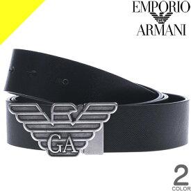 エンポリオアルマーニ ベルト メンズ 本革 ブランド カジュアル ビジネス おしゃれ ゴルフ 黒 リバーシブル 回転式バッグル EMPORIO ARMANI Y4S270-YLP4X