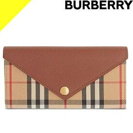 バーバリー 財布 長財布 折財布 レディース ヴィンテージチェック コンチネンタルウォレット ブランド かぶせ 薄い タン BURBERRY Vintage Check and Leather Continental Wallet 8026112