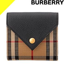 バーバリー 財布 三つ折り財布 レディース ヴィンテージチェック&グレイニーレザー フォールディングウォレット ブランド 黒 ブラック BURBERRY Vintage Check and Grainy Leather Folding Wallet 8026114