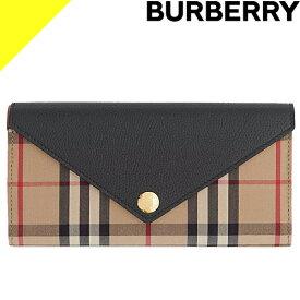 バーバリー 財布 長財布 折財布 レディース ヴィンテージチェック コンチネンタルウォレット ブランド かぶせ 薄い 黒 ブラック BURBERRY Vintage Check and Leather Continental Wallet 8026108