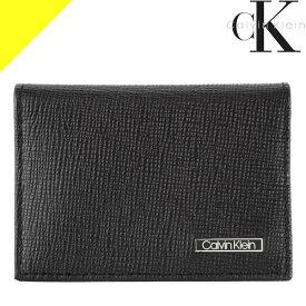 カルバンクライン Calvin Klein カードケース パスケース 名刺入れ メンズ レディース スキミング防止 ブランド 本革 スリム 薄型 二つ折り 黒 ブラック 79218