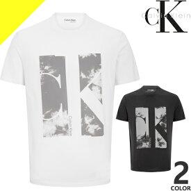 カルバンクライン Tシャツ メンズ 半袖 ブランド 黒 白 ブラック ホワイト ロゴ プリント 大きいサイズ Calvin Klein Instit Tape Detail J30J314564 [ネコポス発送]