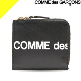 コムデギャルソン 財布 ミニ財布 コインケース 小銭入れ レディース メンズ L字ファスナー ブランド コンパクト 薄い 黒 ブラック COMME des GARCONS HUGE LOGO SA3100HL
