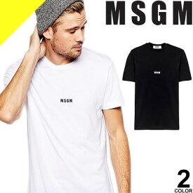 エムエスジーエム MSGM Tシャツ 半袖 メンズ 無地 ロゴ プリント 白 黒 ホワイト ブラック ブランド 綿100% おしゃれ 2640MM162 [ネコポス発送]