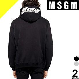 エムエスジーエム パーカー トレーナー スウェット メンズ オーバーサイズ ロゴプリント ブランド 裏起毛 厚手 大きいサイズ 黒 ブラック MSGM SWEATSHIRT WITH LOGO PRINT AT HOOD 2740 MM76