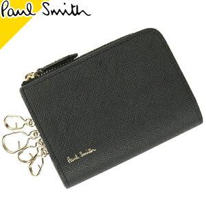 ポールスミス キーケース 4連キーケース コインケース 小銭入れ メンズ マルチストライプ 正規品 牛革 本革 革 ブランド プレゼント ギフト 男性 黒 ブラック Paul Smith Zip Straw Grain Key Case 30PAP78