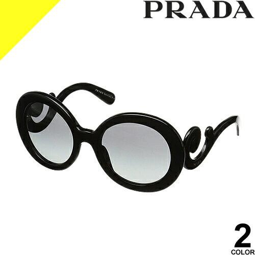 [定価34,560円→19,199円] プラダ サングラス レディース メンズ uvカット 黒縁 薄い色 ブランド 紫外線対策 専用ケース付き ラウンド 軽量 PRADA 27NSA 2AU6S1 1AB3M1
