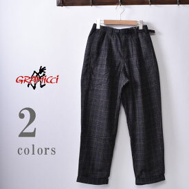 【GRAMICCI】グラミチWOOL BLEND TUCK TAPERED PANTS(GMP-19F010)ウールブレンドタックテーパードパンツ全2色(HEATHER CHACOAL・GLEN CHECK GREY)z10x