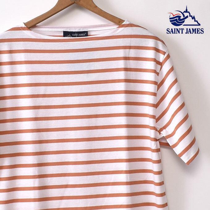 【SAINT JAMES】セントジェームスPIRIAC(ピリアック)半袖TシャツNEIGE/TROPIQUE(ホワイト/オレンジ)[ゆうパケット対応]z10x