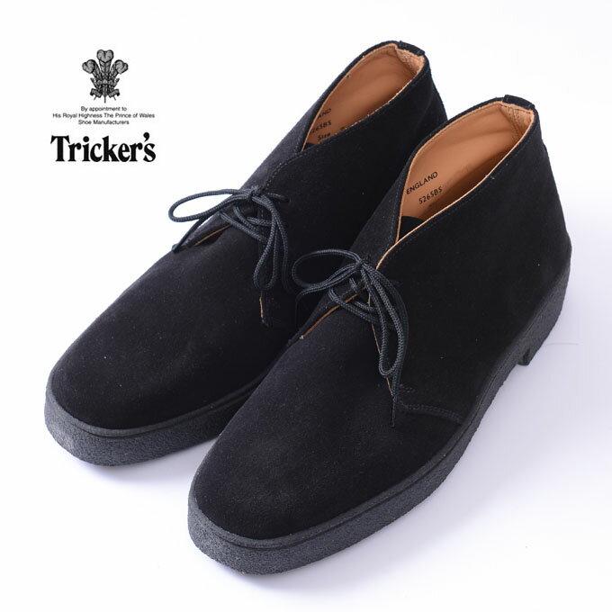 正規品Made in England【Tricker's】トリッカーズS265 MUDGUARD CHUKKA BOOTS CRAPE SOLEマッドガード チャッカーブーツBLACK SUEDE ブラックスウェード