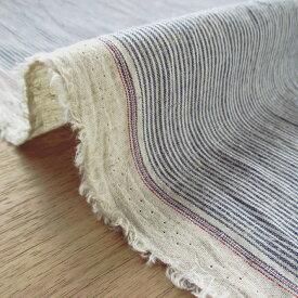 綿麻 (コットン&リネン) ストライプ ハンドワッシャー | 布 生地 綿 麻 コットン リネン 110cm幅 切り売り 10cm単位 全7色