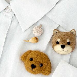 フェルト羊毛 手作りキット ブローチが作れます 柴犬とトイプードル [ハマナカ] 【フェルト】【羊毛】【羊毛フェルト】【手作り】【キット】【簡単】【手芸】【クラフト】【ウール】
