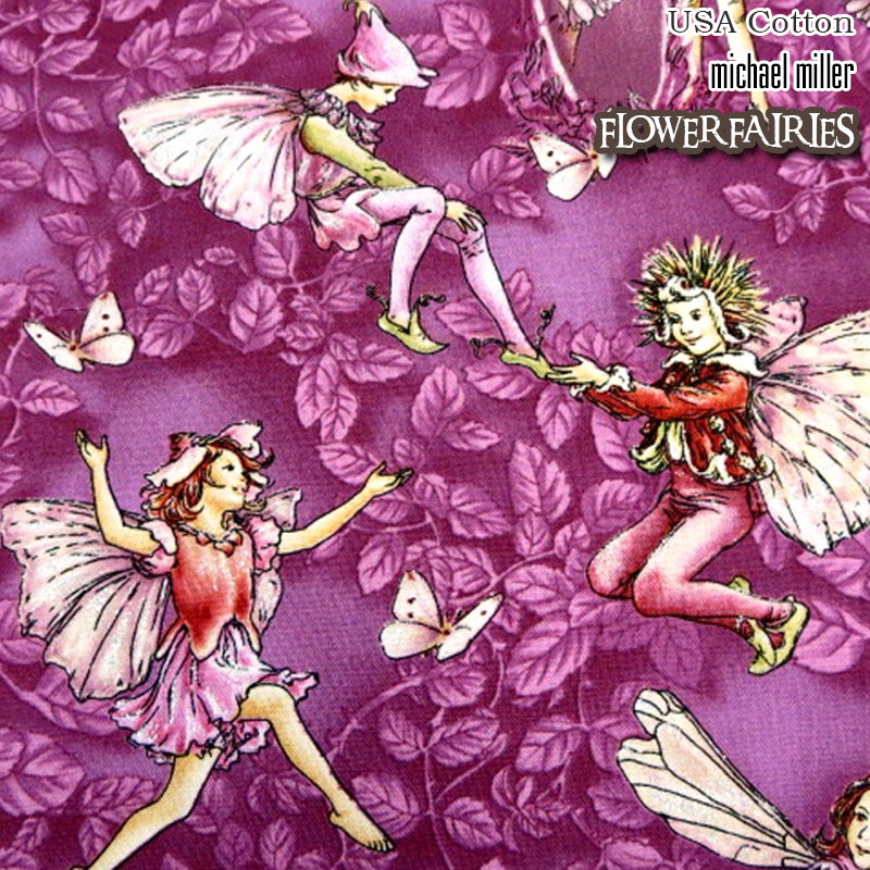 ★USA Cotton★花と妖精*Flower FAIRIES*PURPLE(単位50cm)