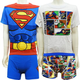 JUSTICELEAGUE ジャスティスリーグ ボーイズ 下着 Tシャツ ボクサーブリーフ 2セット 7/8才 130cm 【アメリカ買付商品】 アメリカンヒーロー DCコミック スーパーマン