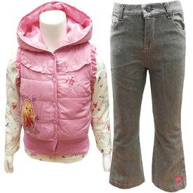 バービー 子供服 キッズ ベスト ジーンズ 上下 カットソー セットアップ アウター Barbie 3歳 4歳 95cm 100cm 110cm